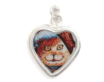 Broken China Jewelry Kitty Cat Charm 10