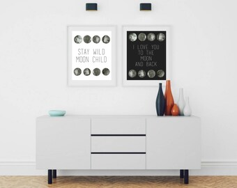 moon art, i love you, to the moon and back, nursery art, kids room art, home decor, wall art, stay wild, moon child, monochromatic art