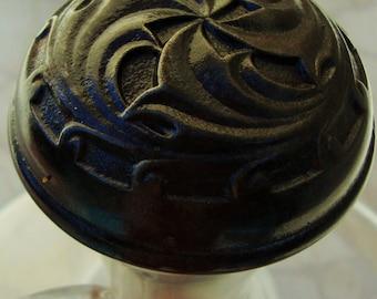 DOORKNOB Bottlestopper Victorian Antique Wine Stopper Cork Metal Hand Made USA Carafe Topper Pinwheel Design Chocolate Brown NWOT Vintage