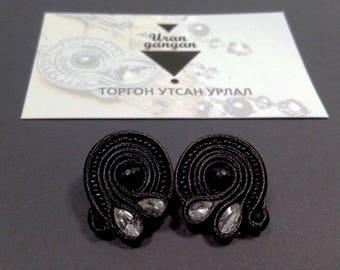 Soutache earnings witn silk and pearl Mongolian handmade earnings filigree earrings, bridesmaid gift dainty earrings stone jewelry