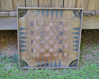 Vintage Carrom Game Board Checkers Chess Wooden Game Board with Pockets Rustic Wall Decor PanchosPorch
