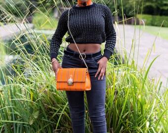 Orange Dazzle Cross Body Chain Bag/ Super Nice Ankara