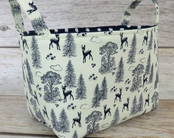 SALE / CLEARANCE - Storage Fabric Organizer Organization Bin Container Basket - Riley Blake - Navy Deer and Forest Fabric