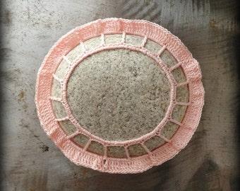Home Decor, Crochet Lace Stone, Table Decoration, Handmade, Pink, Original, Nature, Tutu, Folk Art, Ruffled, Monicaj