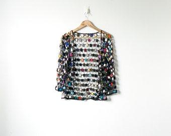 Boho 90s Beaded Crochet Cardigan - Boho Cardigan - Fishnet Cardigan - Fishnet Sweater - Boho Sweater - Vintage Hippie Cardigan - Women's M