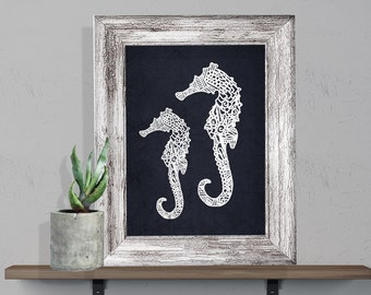 Tribal Indigo Seahorse Print Navy and White 8x10 or 11x14 Coastal Boho