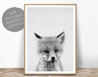 Printable Nursery Art, Woodland Fox Decor Print, Instant Digital Download, Baby Animal Print, Black and White Poster, Baby Fox Cub Photo