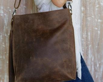Taupe Leather Handbag /Shoulder Bag / Messenger bags / Handbags