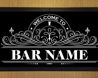 Bar Runner Welcome to 'Your Name' Bar Drip Spill Mat Personalized Bar Gifts For Men Women