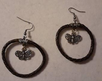 Butterfly leather hoop earrings