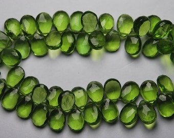 16 Inch Strand,PARROT GREEN QUARTZ Pear Shape Briolette, Size 7X10 mm