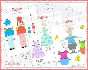 Clara from the nutcracker paper doll craft kit diy print and nutcracker paper doll set with printable costumes clara mouse king educational toy craft activity diy pdf ballet solutioingenieria Image collections