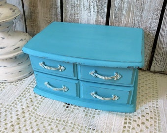 Painted Jewelry Box Turquoise - Small Jewelry Box Girls - Aqua Turquoise - Custom Jewelry Boxes
