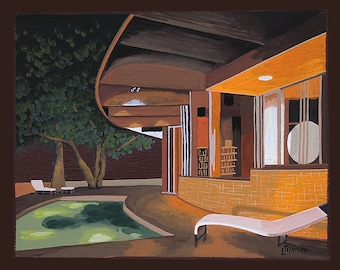 Mid Century Modern Eames Retro Limited Edition Print from Original Painting Pool Patio Night