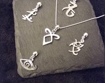Interchangeable Silver Plated Rune Necklace