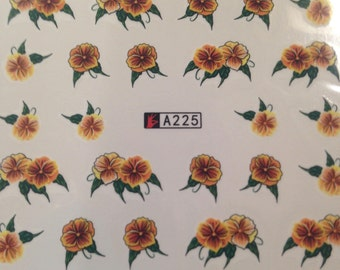 Yellow Pansy Nail Decals