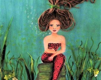 Mermaid Print Bathroom Beach Decor Coastal Wall Hanging Mermaid Decor Mixed Media Mermaid Paintings Nautical Art