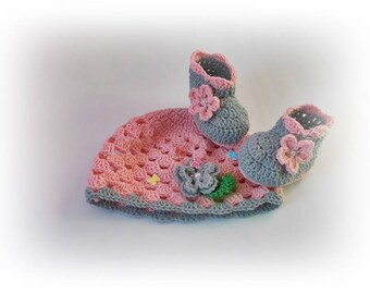 Crochet baby shoes hat, Crochet baby set, Gray pink baby boots hat set