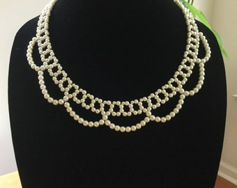 """Vintage Faux Pearl Chocker 16"""" Necklace, Faux White Pearls Bridal Princess Necklace, Vintage Costume Jewelry, Fashion Unique Jewelry,"""