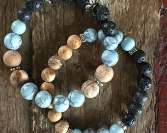 Sand and Sea - Set of Two Aromatherapy Bracelets