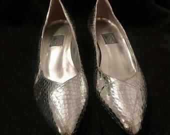 Vintage Faux Snakeskin Silver Heels