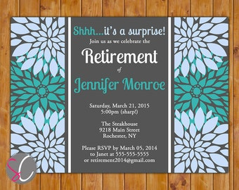 Surprise Retirement Party Celebration Invitation Teal Blue Floral Burst 5x7 Digital JPG DIY Printable (287)