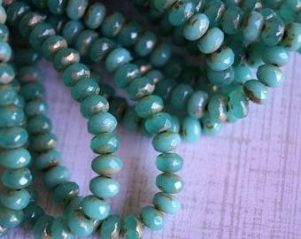 3x5mm Fire Polished Rondelle - Emerald Opal Mix - Premium Czech Beads - Bead Soup Beads - Czech Beads