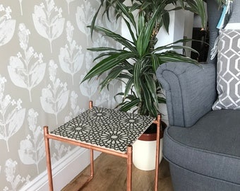 Copper and ceramic tile side table