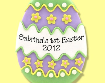 Personalized GREEN EASTER EGG Ornament Handmade Polymer Clay