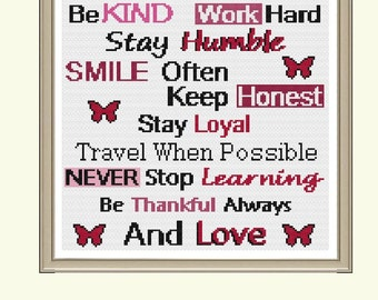Inspirational Quote - Be Kind (No Border) Cross Stitch Pattern