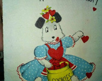 Vintage Norcross Little Valentine Card- Dog