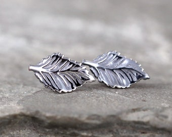 Leaf Earrings - Sterling Silver Post Earring - Little Leaf - Dark Patina - Nature Inspired Jewellery - Made in Canada