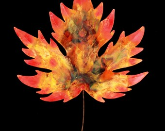 Sculpture, copper, copper sculpture, leaf, leaf sculpture, maple leaf, maple leaf sculpture, handmade, copper wall art, wall art, gift