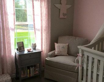 Pink Curtains or Valance - Bella Pink Ozborne Damask Curtain Panels or Valance