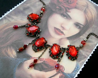 Necklace red crystal of VICTORIAN style lockets and Gothic, vintage, Baroque Christmas