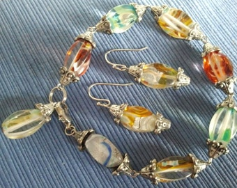 Venetian Lanterns, Bracelet and Matching Earrings