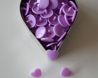 "10 snap KAM ""Heart"" glossy lilac * color *."