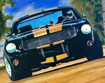 Mustang GT Shelby Race Car Wall Art. Wall art of Mustang GT Shelby car. Hotrod Mustang GT Shelby race car wall art, garage decor. Hotrod art