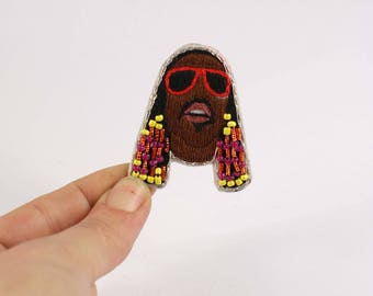 Brooch hand embroidery Stevie wonder