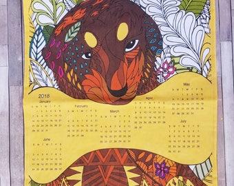 Tea towel Dog illustration, 2018 Tea Towel Calendar, Dog Tea Towel, Home Essentials, Gift for Her, Gift under 15, House Warming Gifts,