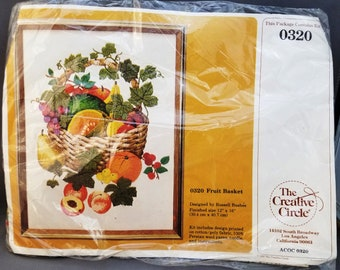 Creative Circle 0320, Fruit Basket, Crewel Kit, Designed by Russell Bushee, 12x16 inches, 30.4x40.7 cm, Persian wool, DIY kit, 1980