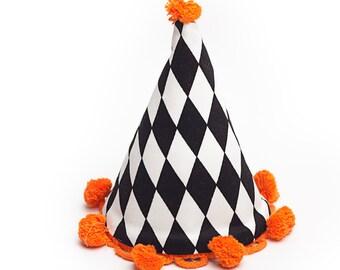 sombrero del partido del circo blanco y negro tela