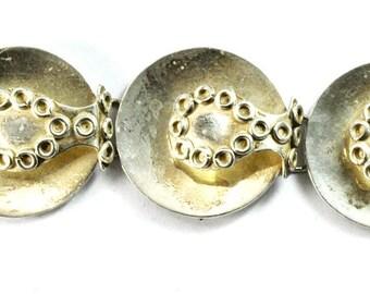 "Mexico Sterling Silver Taxco Felipe Martinez Round Link 29mm Bracelet 7"""