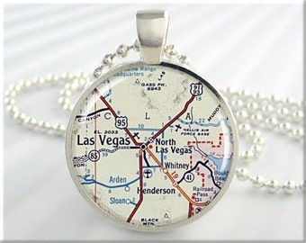 Las Vegas Map Pendant, Las Vegas Nevada Map Necklace, Picture Jewelry, Resin Pendant, Round Silver, Gift Under 20, Map Charm 654RS