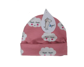 baby beanie hat pink clouds , choose your size
