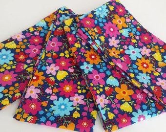 Large Cloth Napkins, Set of Four - Colorful Flowers // Everyday Napkins // Family Napkins // Eco Friendly // Hostess Gift // Housewarming