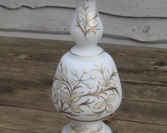 Vintage Brass Lamp Frosted  Venetian White Gold Painted Embossed Floral Design