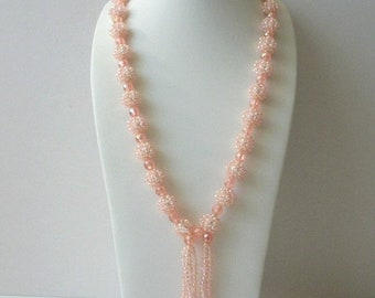 ON SALE Glitter Glam Pink Faux Pearls No Clasp Tassel Long Necklace 52018