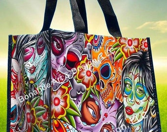 Tattoo style reusable tote bags