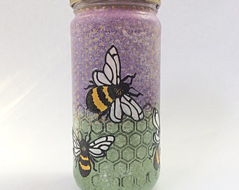 fat bees hand  painted glass recycled jar